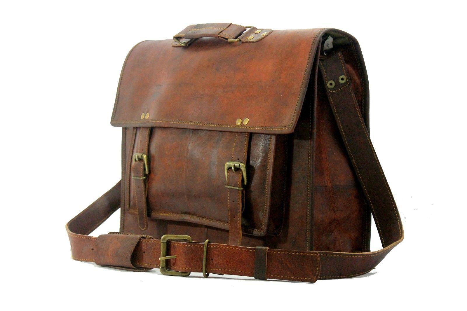 Men's Genuine Vintage Leather Messenger Bag Shoulder Laptop Bag Briefcase