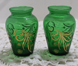 Vintage EMERALD GREEN With Gold Bohemian Style MINIATURE VASES - $10.00