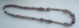 Red jasper beaded necklace with antiqued brass accents - $22.00