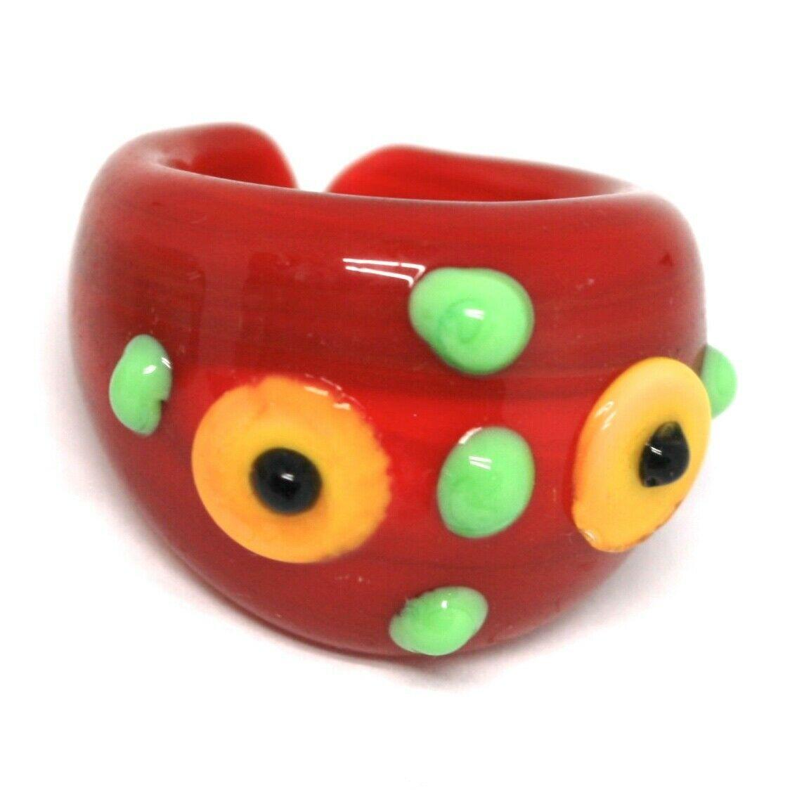 Ring Antica Murrina, Murano Glass, Red, Discs, Polka dot Embossed