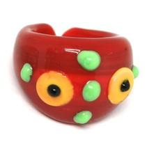 Ring Antica Murrina, Murano Glass, Red, Discs, Polka dot Embossed image 1
