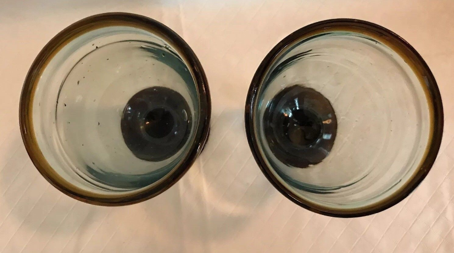 Set of 2 Brown Rim & Base Hand-blown Glass Drinking Glasses Mexico Bubbles