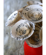 Sheet Music Paper Flowers with Stems One Dozen Music Notes with/ Free Card - $15.99