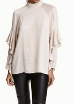 H&M Conscious Beige Ruffle Tier Layer longsleeves silky party mockneck t... - $27.99