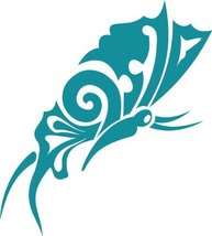 Butterfly Insect Wall Decal Sticker Mural - 24 in. Teal [Kitchen] - $19.95