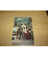 1908 VINTAGE USED POSTCARD VICTORIAN COUPLE KISSING IN MOONLIGHT - $9.50