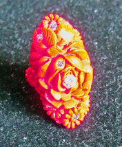 Antique Vintage red floral Celluloid Chrysanthemum Ring Size 7? with rhi... - $79.00