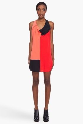 NEW 100% AUTH Alexander Wang Color-block silk crepe de chine Dress $530
