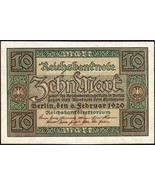 Germany Banknotes 10 Mark 1920 Uncirculated XF-UNC #174 - £4.49 GBP