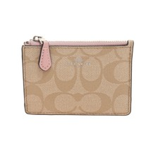 NWT COACH Mini Skinny ID Case Signature Wallet Light Khaki Carnation Pin... - $41.58