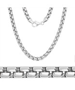 5mm Solid ITALY Made 925 Sterling Silver Mens Round Box Heavy Chain Necklace - $179.22 - $215.40