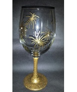 Beautiful Gold Star Burst Painted Wine Goblet - $15.00