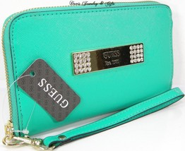 Guess Logo Wristlet Purse Hand Bag Turquoise Saffiano Cell Phone Case NWT - $44.53