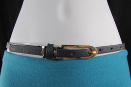 "New Women Faux Leather Blue Hip Waist Thin Fashion Belt Gold Buckle S M 28""-35"" - $11.75"