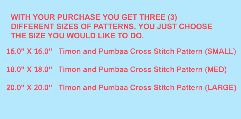 Timon and Pumbaa Cross Stitch Pattern***L@@K***