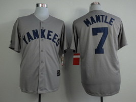 Mickey Mantle #7 Throwback/Retro Gray New York Yankees MLB Jersey - $37.99