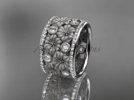 Fancy floral wedding ring, 14k white gold diamond flower wedding ring,en... - $3,650.00