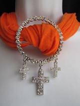 New Women Fashion Silver Round Metal Three Crosses Scarf Pendant Rhinesrones - $15.67