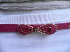 NEW WOMEN SUMMER GOLD BOW THIN D PINK FAUX LEATHER FASHION BELT SIZE M/L... - $14.69