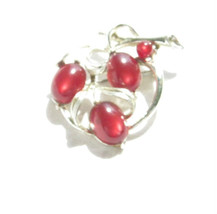 RED MOONSTONE CHERRIES WITH SILVER METAL LISNER PIN - $9.99