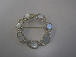Marked Coro Gold Color Metal & Mother Of Pearl Circle Brooch Jewelry - $12.99
