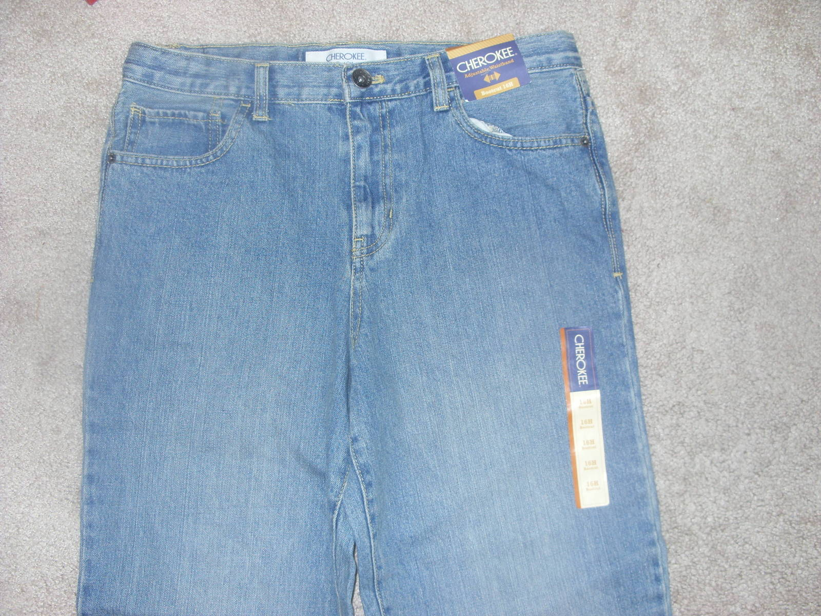 Primary image for Womens Cherokee Bootcut Blue Jeans adjustable waistband size 16H New with Tags!