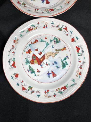 4 FARBERWARE China WHITE CHRISTMAS Dinner Plates