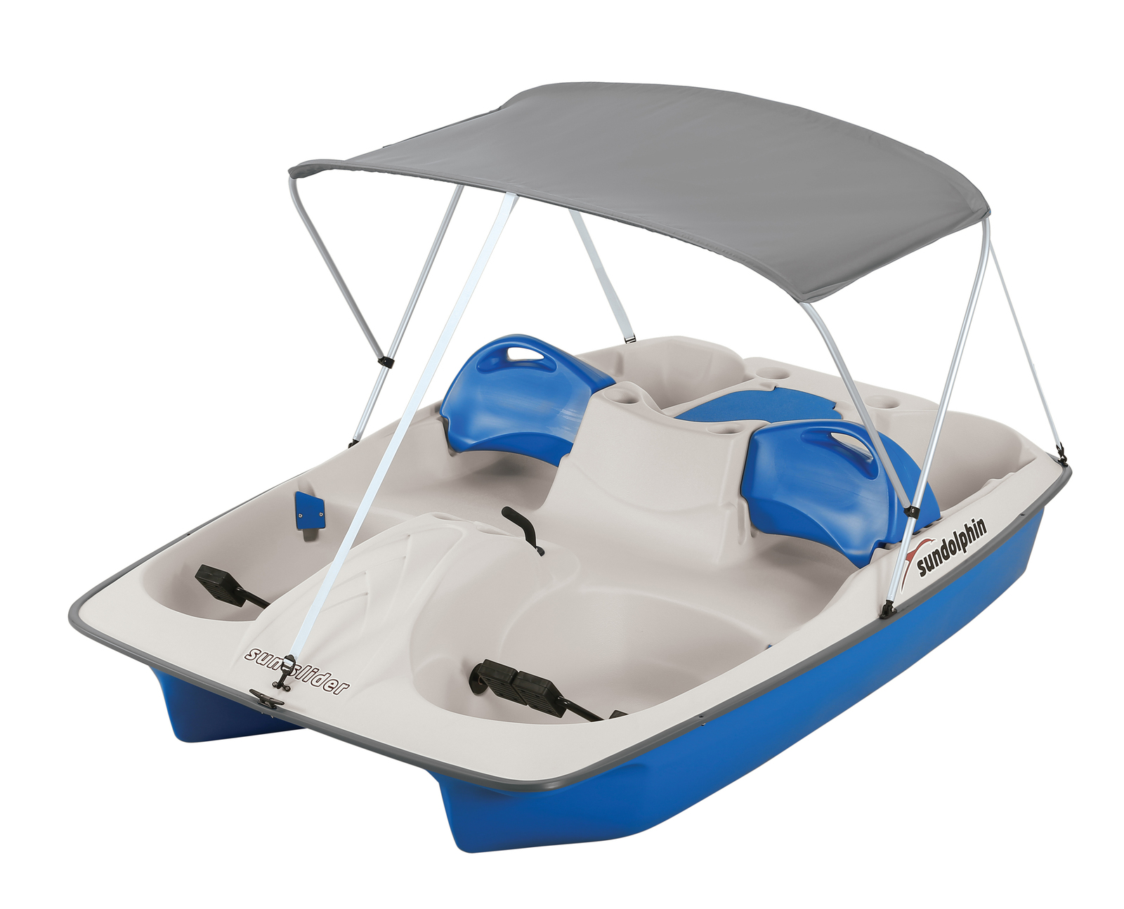 Sun Dolphin 5-Person Sun Slider Pedal Boat with Canopy, Blue