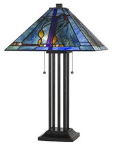 """Textured Deep Blues Square Tiffany Table Lamp 25""""H - $389.99"""