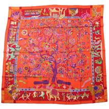 Hermes Carre 140 Shawl Scarf Stole Fantaisies indiennes Red OrangeCashmere Silk - $911.28