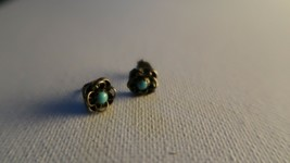 Vintage Sterling Silver Turquoise Flower Stud Earrings 8mm - $13.86