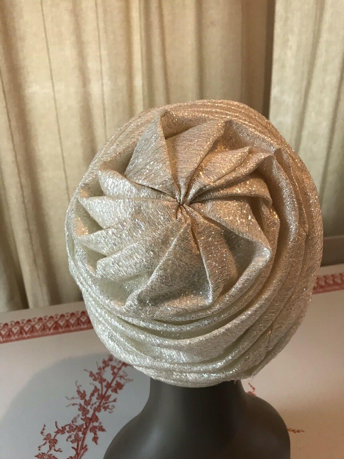 Vintage White Lurex Turban