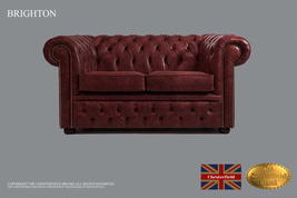 Original Chesterfield  Vintage Oxblood  Sofa, 2 seats, Real Leather ,Han... - $4,897.00