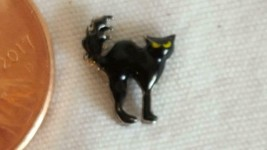 Nnt Tiny Authentic Origami Owl Enameled Black Cat Floating Charm, Halloween - $4.94