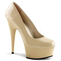 "PLEASER DEL685/CR/M Cream Nude Tan Platform 6"" Stiletto Pumps High Heels Shoes - $52.95"