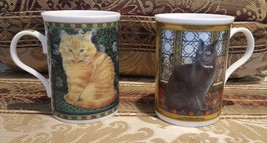 FINE BONE CHINA CATS - Lesley Anne 1998 Crown Trent Mug - Lot of TWO - C... - $34.30