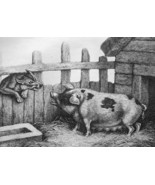 AESOP FABLES Animals Sow Pig & Wolf - 1811 Original Etching Print - $30.60
