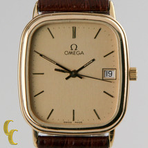 Omega Ω Men's Gold-Plated Quartz Watch w/ Date Feature and Leather Band - $816.74