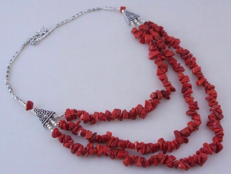 Coral Beaded Uncut Necklace Jewelry 54 Gr. ojm-347-9 - $10.06