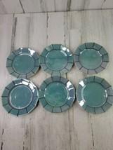 Set of 6 Blue-Green Lustre Black Trim Lusterware 7 Inch Salad Dessert Pl... - $17.45
