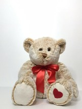 """Animal Adventure Bear Plush Red Bow Embroidered Heart 13"""" Tall 2015 Vale... - $18.81"""