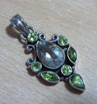 925 Sterling Silver Green Amethyst & Peridot Pendant 51 Mm(Hallmarked In The Uk) - $92.80