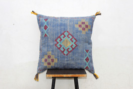 Blue Color Cactus Silk Inspired Handmade Linen Pillow Cover Moroccan Sil... - $30.00