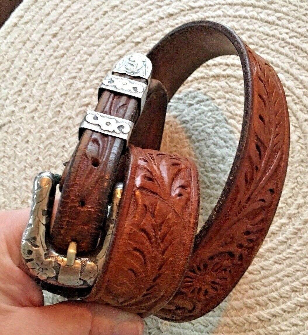 BOHLIN MADE BELT RANGER PLATA DE JALISCO STERLING SILVER BUCKLE Leather Western image 4