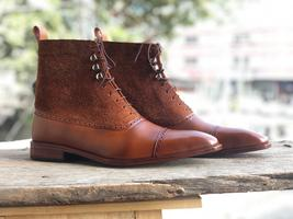 Handmade Men's Brown High Ankle Lace Up Leather & Suede Boots image 3