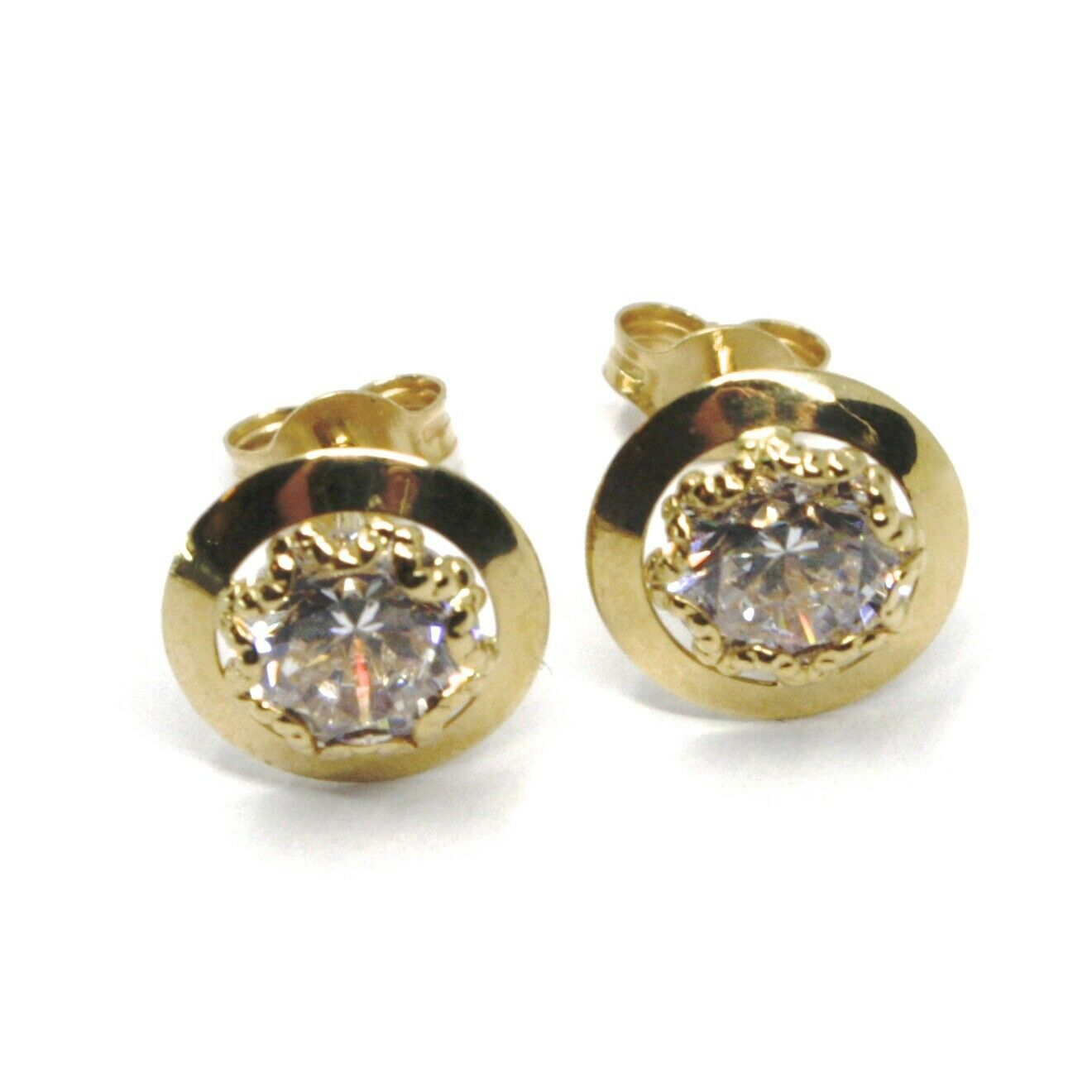 18K YELLOW GOLD BUTTON EARRINGS CUBIC ZIRCONIA, ROUND DISC WORKED FRAME, 10 MM
