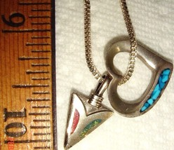 VTG STERLING SILVER HEART ARROW CORAL TURQUOISE REVERSABLE NECKLACE EARR... - $367.99