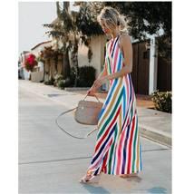 Women's Trendy Summer Rainbow Stripe Maxi Sundress image 3