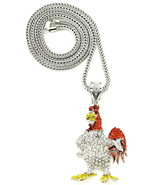 """Rooster Necklace New Iced Out Crystal Rhinestone Pendant 36"""" Franco Styl... - $35.86"""