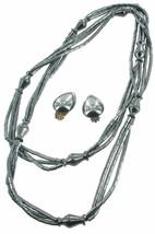 VINTAGE HEMATITE TRIPLE BARREL BEAD STRAND NECKLACE TEARDROP EARRINGS SE... - $121.49